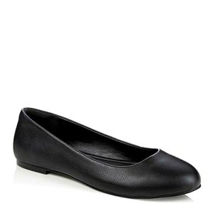 Long Tall Sally Black Round Toe Ballerina Flats